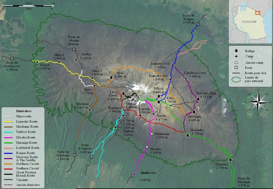 ascension du kilimandjaro carte