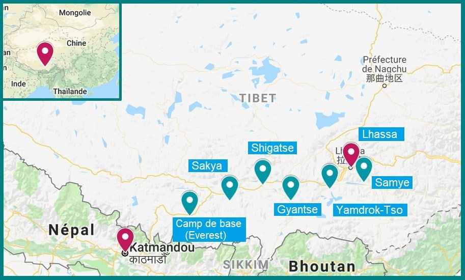 roadtrip itineraire tibet katmandou