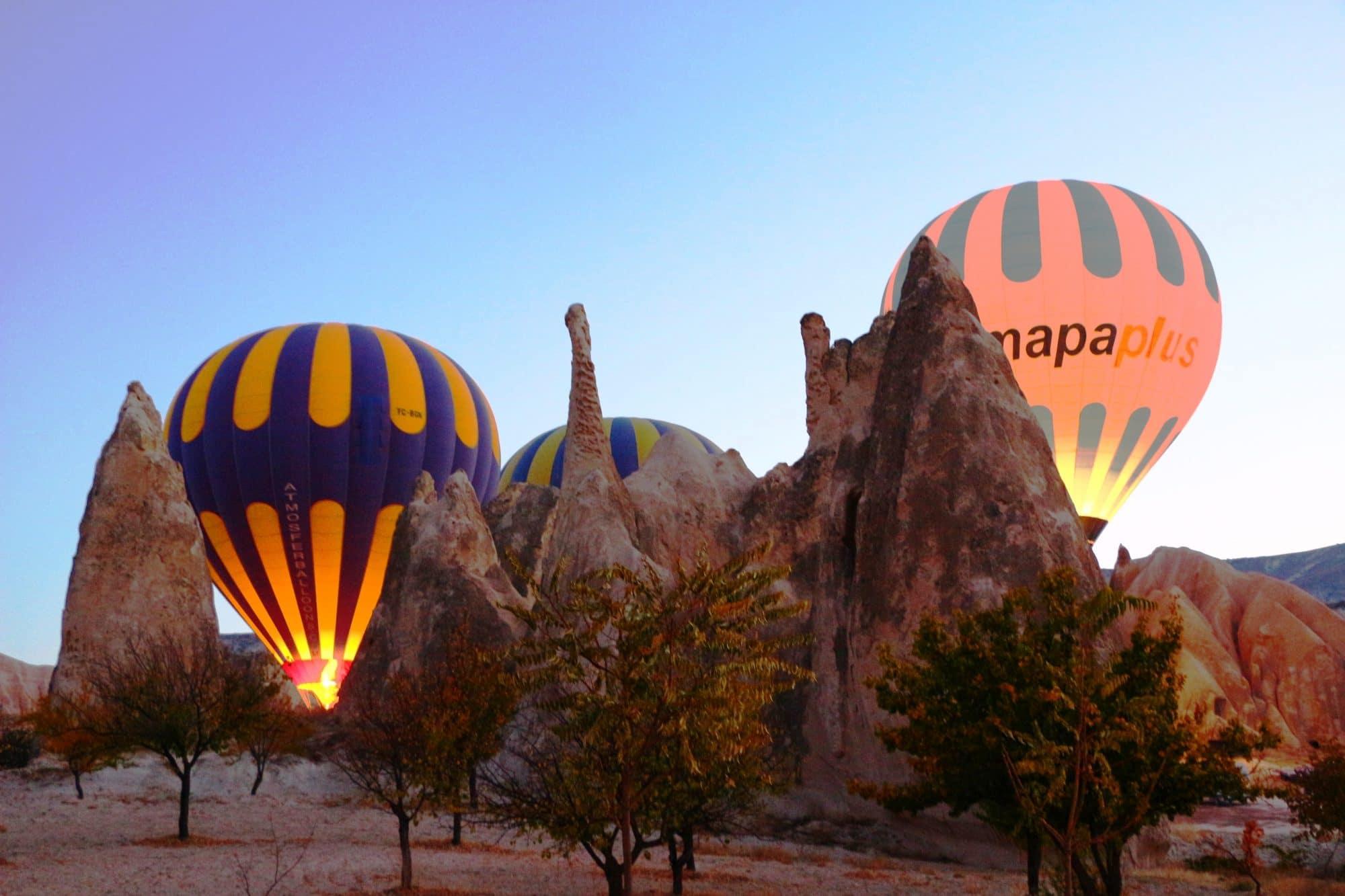 montgolfiere en cappadoce decollage