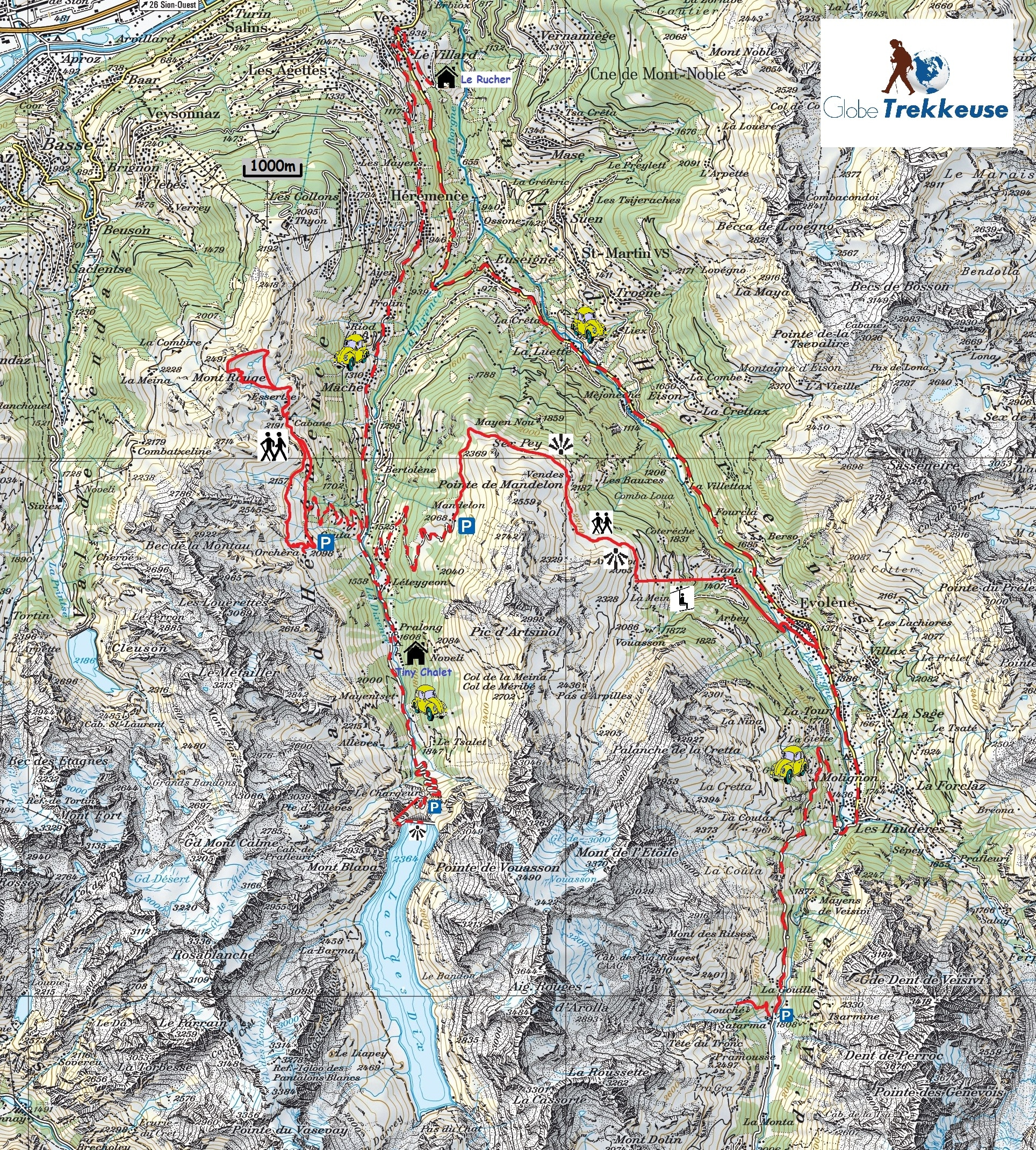 carte val herens itineraire