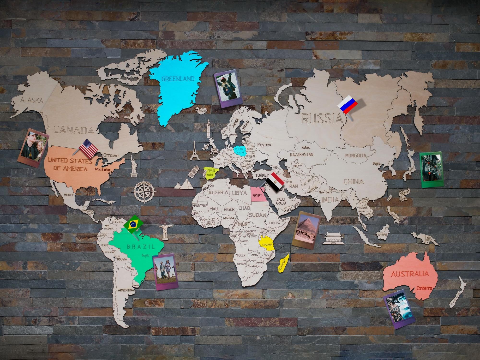 carte du monde a offrir bois