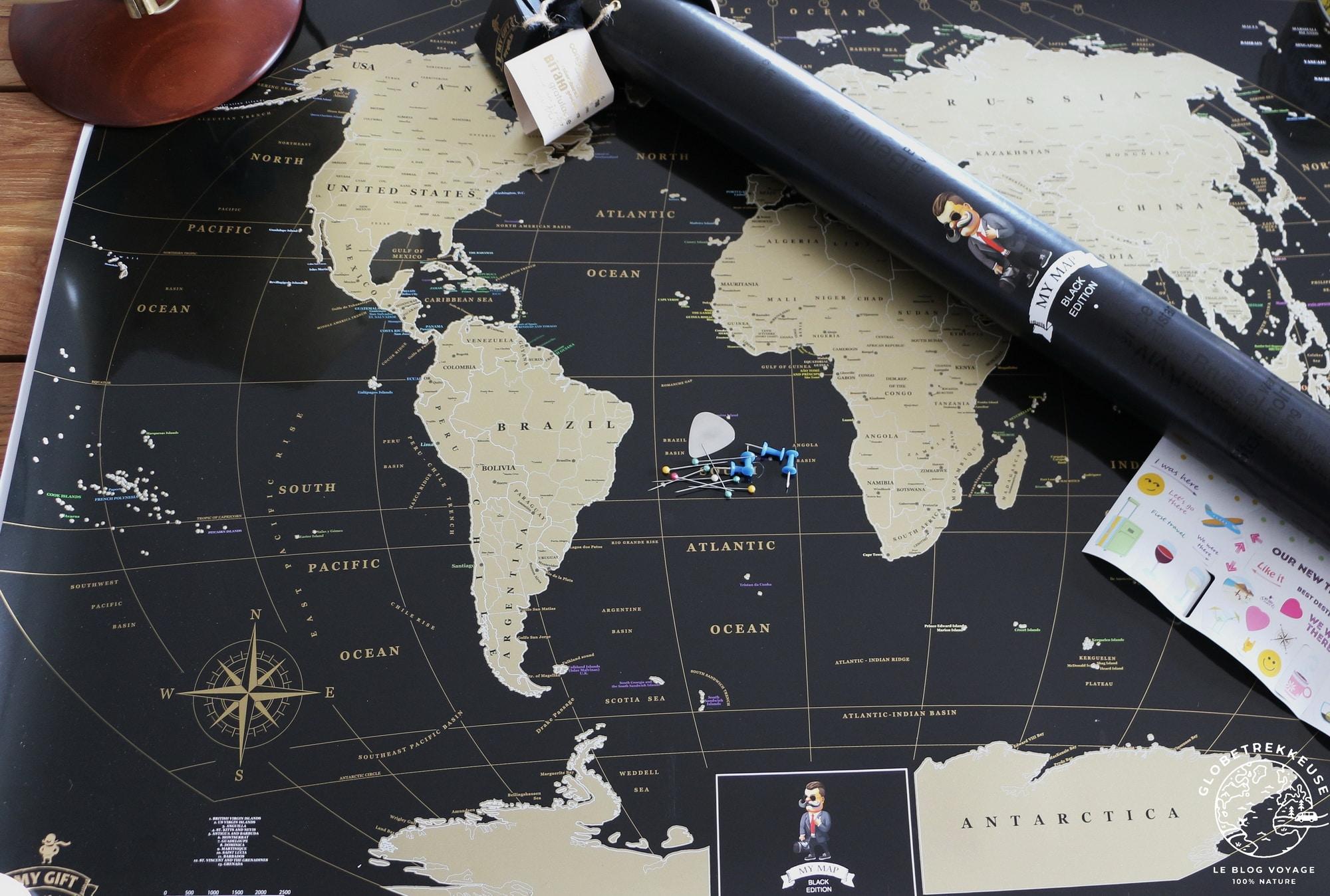 carte du monde a offrir noir