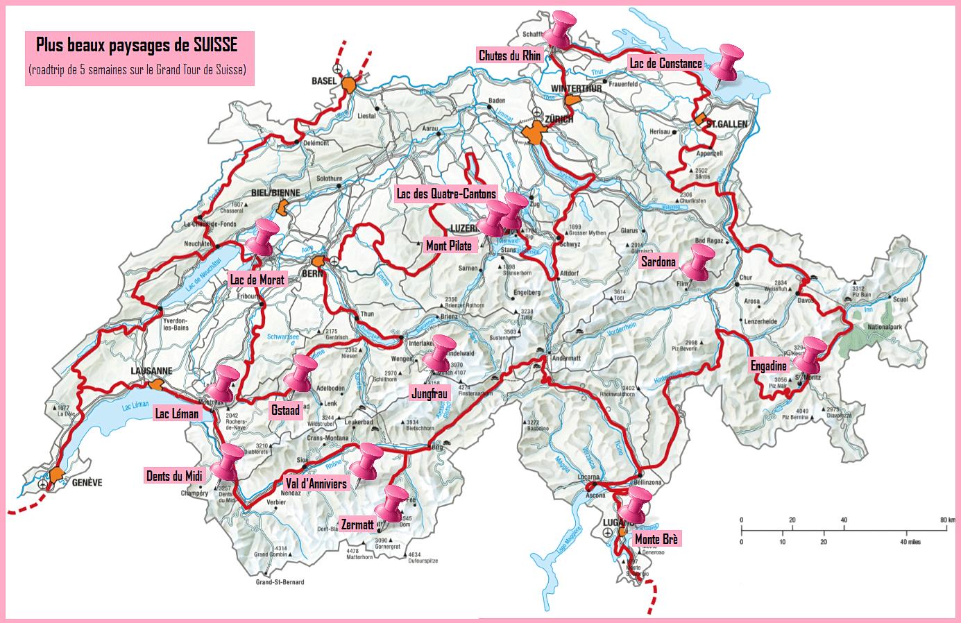 plus beaux paysages de suisse carte globetrekkeuse