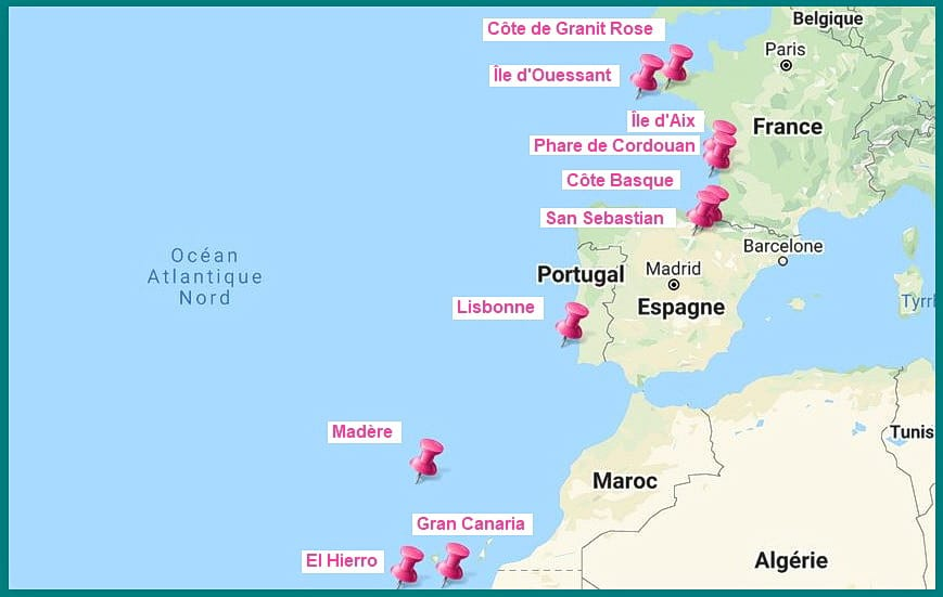 Cote Atlantique destinations carte