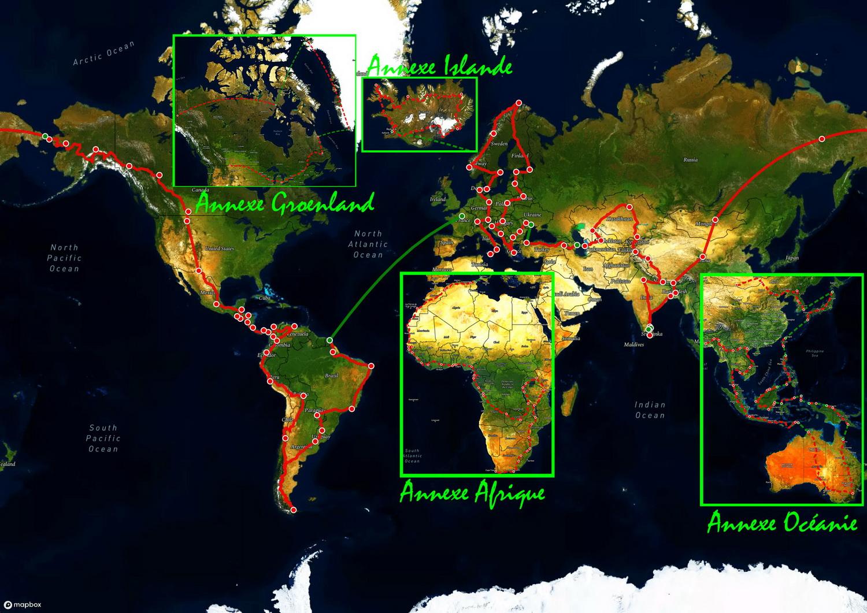 tour du monde avec chiens itineraire