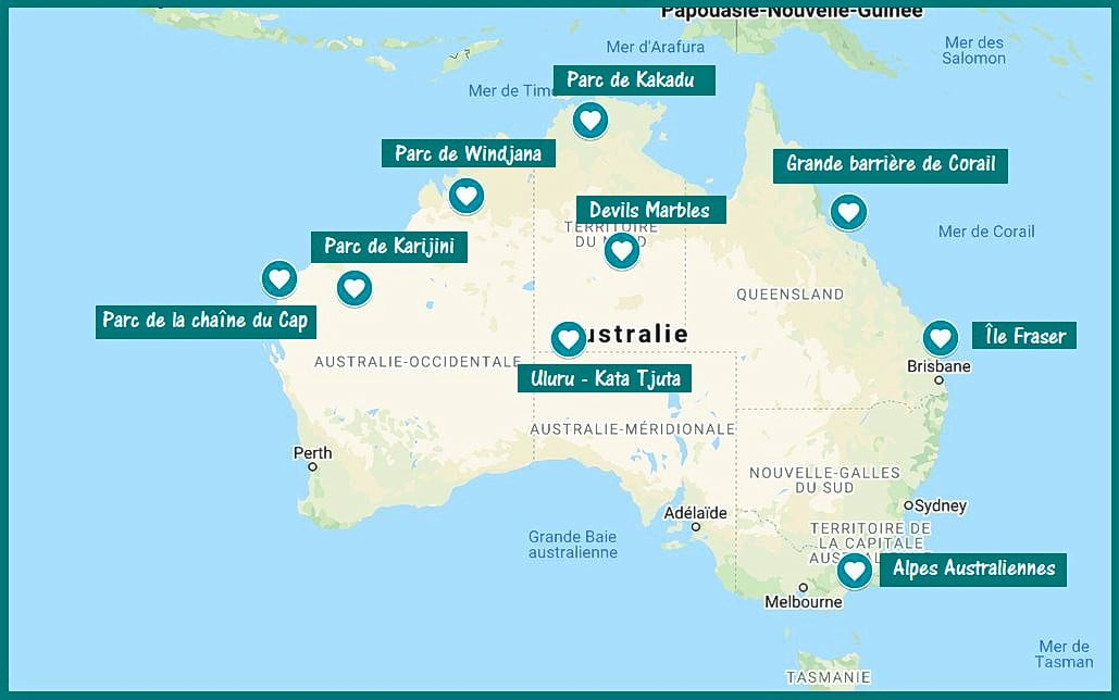 road trip australie carte sites naturels